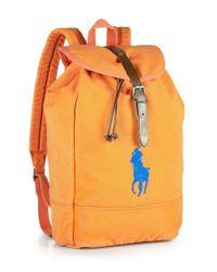 Polo Ralph Lauren Orange Canvas Backpack for men