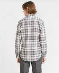 Zara | Gray Check Shirt for Men | Lyst