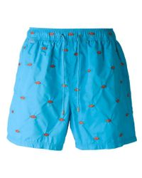 Etro Blue Angel Fish Embroidered Swim Shorts for men