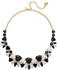 kate spade new york | 12k Gold-plated Black And White Stone Necklace | Lyst