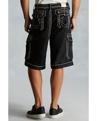 True Religion | Black Issac Trooper Mens Cargo Short for Men | Lyst