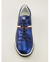 Moncler - Blue Patent Leather Trainers for Men - Lyst