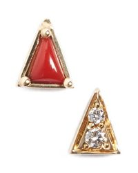 Mociun - Yellow Mismatch Triangle Stud Earrings - Lyst