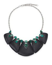 Alexis Bittar - Green Deco Lucite & Crystal Kite Baguette Statement Bib Necklace - Lyst