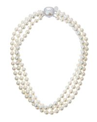 Majorica 3-Strand Mabe-Clasp White Pearl Necklace