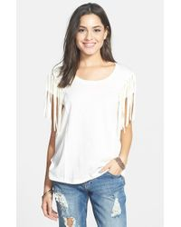 Volcom | White 'hawk Eye' Fringe Trim Top | Lyst