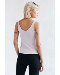 Project Social T - Pink Lace-up Ribbed Tank Top - Lyst