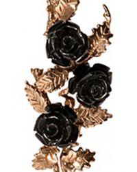 Bernard Delettrez | Metallic Bronze Earrings With Black Resin Roses | Lyst