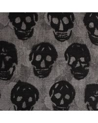 Alexander McQueen - Black Skull On Flower Scarf - Lyst