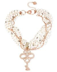 Betsey Johnson | Metallic Rose Gold-tone Twisted Faux Pearl Key Necklace | Lyst