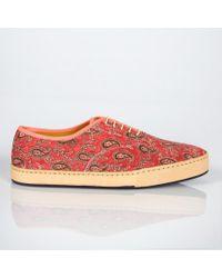 Paul Smith Brown Rick Paisley-Print Sneakers for men