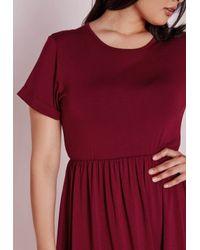 Missguided | Purple Plus Size Jersey T-shirt Skater Dress Burgundy | Lyst