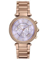 Michael Kors - Metallic Women'S Chronograph Parker Rose Gold-Tone Stainless Steel Bracelet Watch 39Mm Mk6169 - Lyst
