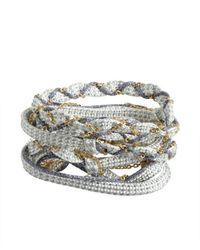 Sogoli | Baby Blue And Cobalt Woven Fabric And Chain Convertible Wrap Bracelet | Lyst