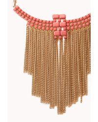 Forever 21 - Pink Boho Babe Fringe Bib Necklace - Lyst