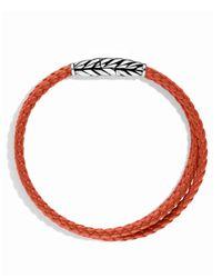 David Yurman | Metallic Chevron Triple-Wrap Bracelet In Orange for Men | Lyst