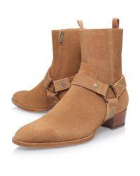 Saint Laurent - Brown Wyatt Suede Harness Ankle Boot - Lyst