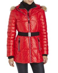 Marc New York - Red Real Fur Trim Belted Down Coat - Lyst
