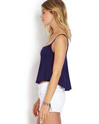 Forever 21 - Blue Ribbed Flounce Tank - Lyst