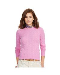 Polo Ralph Lauren | Pink Slim Cable Cashmere Sweater | Lyst