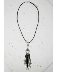 Forever 21 | Black Triangle Fringe Pendant Necklace | Lyst