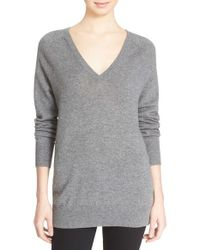 Equipment | Gray 'asher' V-neck Cashmere Sweater | Lyst