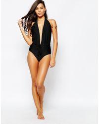 Missguided | Black Plunge Halter Neck Swimsuit | Lyst