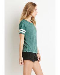 Forever 21 - Green Varsity Stripe-sleeved Tee - Lyst