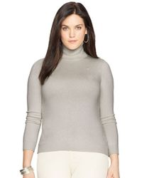 Lauren by Ralph Lauren | Gray Silk Blend Turtleneck | Lyst