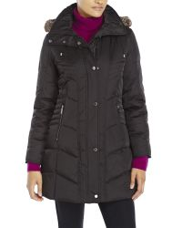 Kenneth Cole | Black Faux Fur Trim Hooded Down Coat | Lyst