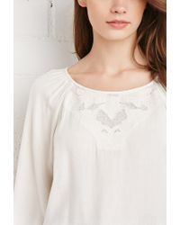 Forever 21 | Natural Floral Embroidered Blouse | Lyst