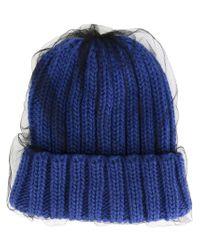 CA4LA - Blue Veil Overlay Knit Beanie - Lyst