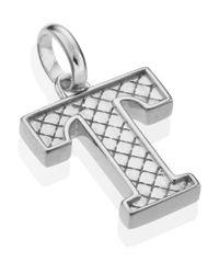 Monica Vinader - Metallic Silver Alphabet Pendant T - Lyst