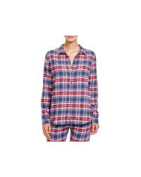 Pj Salvage - Blue Plaid Flannel Button Down Pajama Top - Lyst