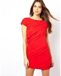 Little Mistress - Red Shift Dess with Ruffle Stripe - Lyst