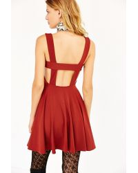 Silence + Noise Brown Starlet Fit + Flare Dress