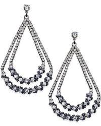 ABS By Allen Schwartz | Metallic Hematite-tone Crystal Double Open Teardrop Earrings | Lyst