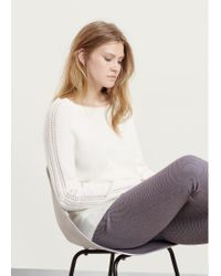 Violeta by Mango - Natural Embellished Alpaca Wool-blend Sweater - Lyst