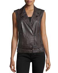 Haute Hippie - Black Double-belted Leather Moto Vest - Lyst