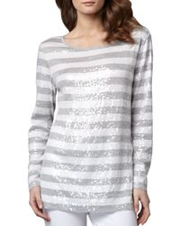 Joan Vass - Gray Sequined Striped Tunic - Lyst