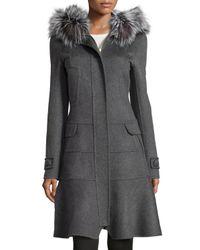 J. Mendel Gray Fur-trimmed Hooded Fluted Coat