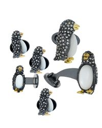 Jan Leslie | Black Marcasite Penguin Cuff Links & Studs Set | Lyst