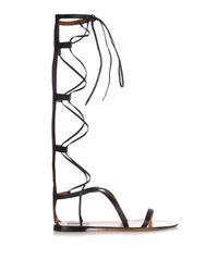 Valentino Black Aphrodite Gladiator Lace-Up Leather Sandals