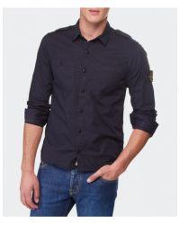 Stone Island - Blue Badge Shirt for Men - Lyst