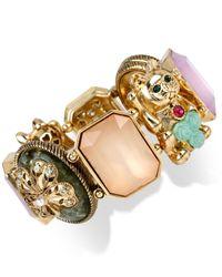 Betsey Johnson Multicolor Gold-Tone Lucky Cat Stretch Bracelet