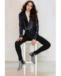Nasty Gal | Black Sea Of Sequins Vegan Leather Moto Jacket | Lyst