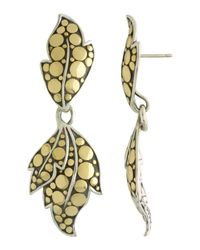 John Hardy - Metallic Ayu Gold  Silver Leaf Drop Earrings - Lyst