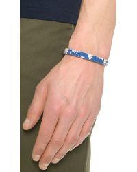Caputo & Co. - Blue Reversible Ikat Leather Bracelet for Men - Lyst