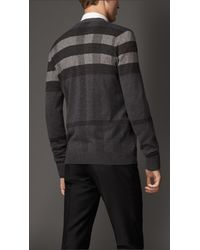 Burberry Gray Tonal Check Wool Cardigan for men