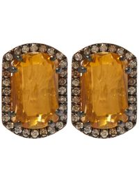 Suzanne Kalan | Metallic Gold Topaz Barrel Champagne Diamond Earrings | Lyst